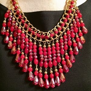 Jewelry - Necklace:🔥2/$40 Simulated Ruby Goldtone Fringed